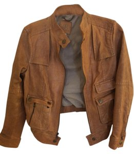 Banana Republic Leather Fall Motorcycle Tan/Brown Leather Jacket