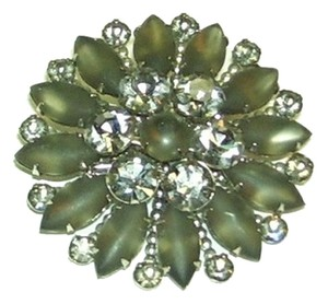 Moss Green and Clear CZ Brooch