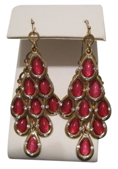 INC International Concepts INC INTERNATIONAL CONCEPTS GOLD TONE PINK LAYERED TEARDROP CHANDELIER EARRINGS.