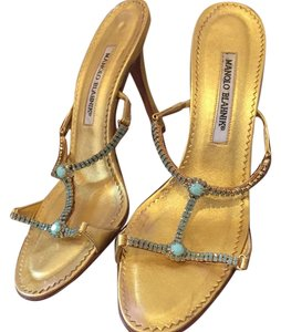 Manolo Blahnik Gold and Torqouise Formal