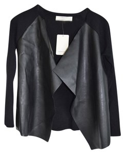 Zara Leather Faux Leather Cardigan Knit Fall Spring Coat Heavy Knit Sweater Wrap Black Blazer