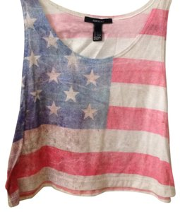 Forever 21 Muscletee America Americanflag Cropped Red White Blue Redwhiteandblue Sexy Cute Trendy Affordable Muscle Top