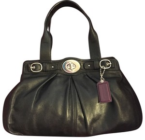 Coach Soft Leather Double Handles Satchel in Black
