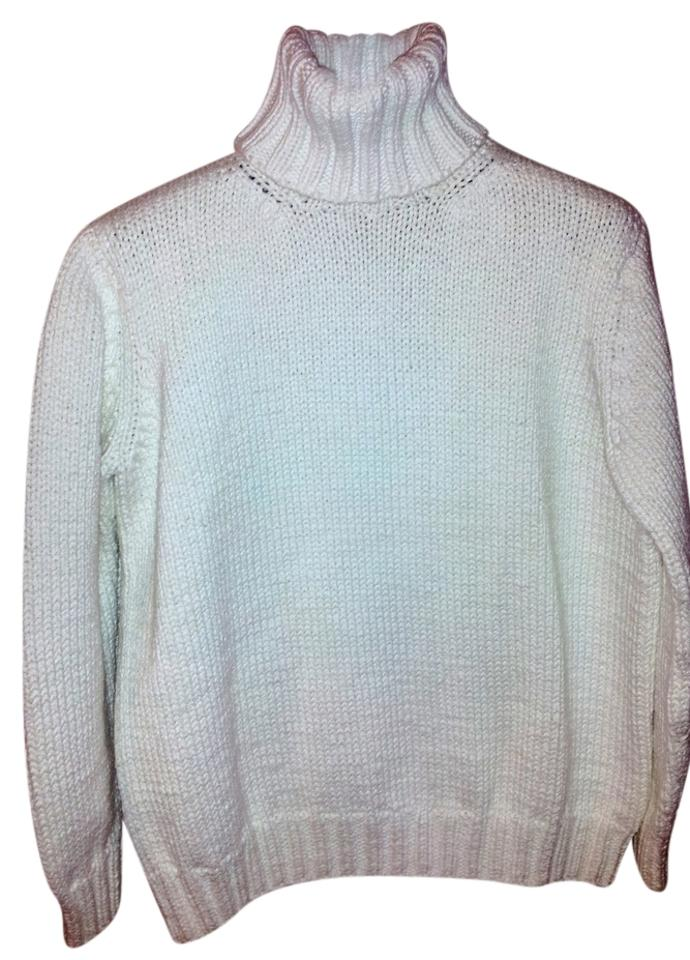 Michael Kors White Hand Knit Look Very Chunky Cotton Turtleneck ...