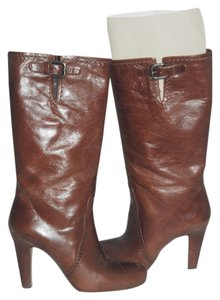 Prada Silver Leather Textured Tall Pointed Toe Logo Monogram Stiletto brown Boots