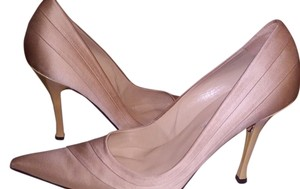 Charles David Gold Khaki Satin Cream Cream Satin Pumps