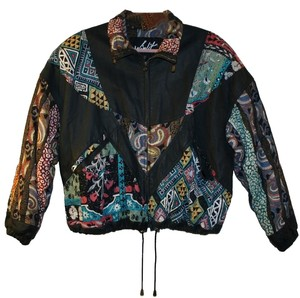 Winlit Vintage Multi Colored Fabric and Black Leather Jacket