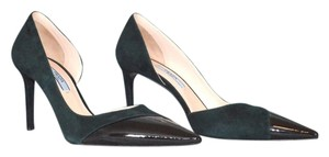 Prada Size 37.5 Donna Calzature Suede Heels Green and Black Pumps