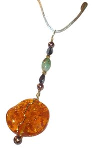 Honey Amber Hematite Pendant