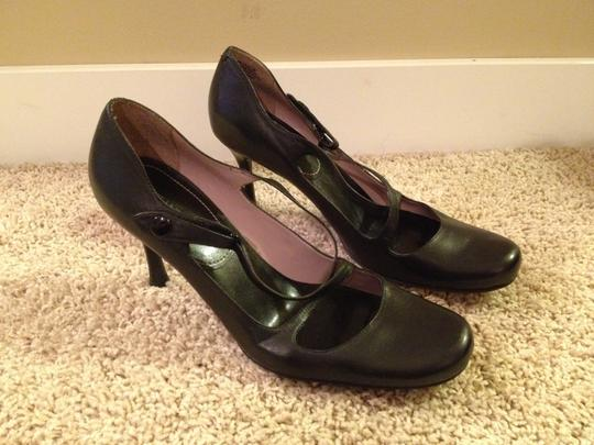Nine West Strappy 3.5 In. Heel Leather Black Pumps