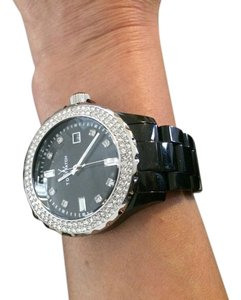 ToyWatch Black Plasteramic with white crystals,