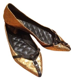 Brian Atwood Snakeskin Leather Buckle Studded Gold Flats