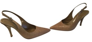 Salvatore Ferragamo Pattern Made Italy $20 OFF. Tan all leather snake slingback Italian Pumps