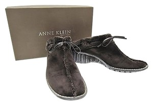 Anne Klein Suede Chilly Brown Mules