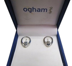 Ogham Sterling Silver 925 Claddagh Today Stud Post Earrings