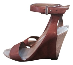 Ann Taylor Tan Leather Tan, Biege Wedges