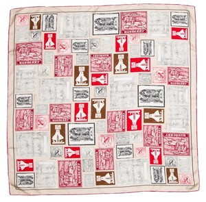 Burberry Brown, black, red multicolor Burberry monogram silk scarf New
