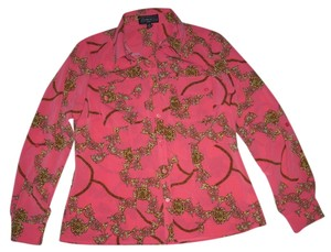 Elementz Long Sleeve Roll Tabs Paisley Print Easy Fit Flap Pockets Button Down Shirt Pink