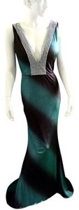 Jenniffer Chong Henk Evening Green And Gray With Silver Adornment Mermaid Skirt Dress