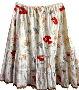 Lucy Love Small Fully Lined Skirt Beige with floral details