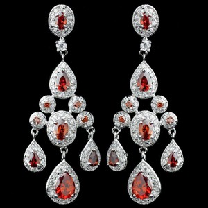 Elegance By Carbonneau Red Cz Chandelier Wedding Earrings