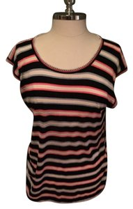 Marc by Marc Jacobs T Shirt Pink Black White Striped Shirt