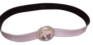 Other Silver Leather Belt with Silver & Cut Glass Buckle