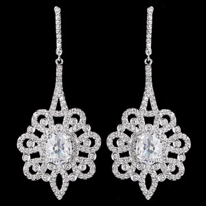 Elegance By Carbonneau Glamorous Cz Drop Bridal Earring