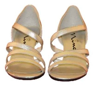 Nina Strappy Closed Back Ideal Dancing Heel Two Of The Straps Have Elastic For Comfort Vintage Silver Sandals