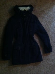 American Eagle Outfitters Shearling Wool Navy Fur Coat