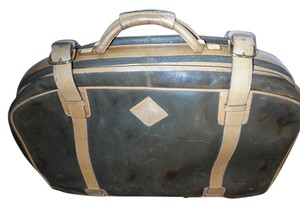 Gucci Vintage Dark Green with Caramel Leather accents Travel Bag