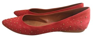 Zara Gold Studs Suede Red Suede Flats