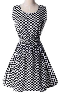 short dress Black and white Chiffon Checkered on Tradesy