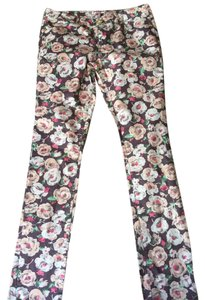 Juicy Couture Size 28 Fitted Gold Straight Pants Floral