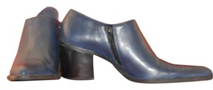 Andiamo With Pointed Toe Zipper On The Inside Of Wide Stacked Heel Leather Uppers With Composition Sole Navy Boots