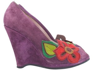 Miu Miu Suede Leather Floral Wedge Purple Wedges