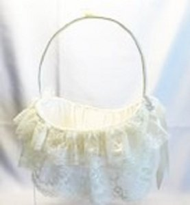Flower Girl Basket; Ivory Lace & Satin [ Roxanne Anjou Closet ]