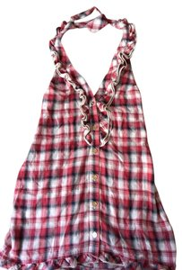 Juicy Couture Plaid Halter Menswear style swim coverup