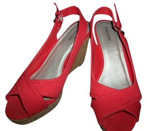 Maurices Womans Shoe Deep Coral Wedges