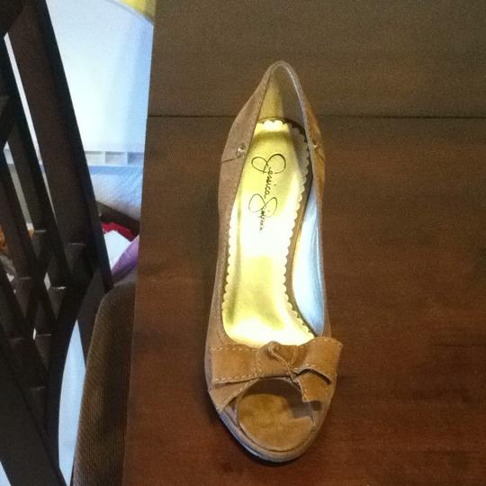 Jessica Simpson Tan Tumbleweed Buffed Wedges