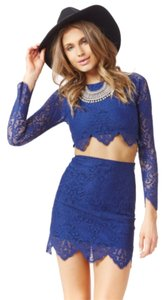 For Love & Lemons Lace Crop Boho Top Blue