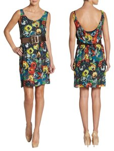 Alice + Olivia Belted Scoopback Silk Floral Sequin Belt Dress