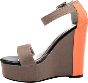 JustFab Multicolor Ultra-high Color-blocking Grey Wedges