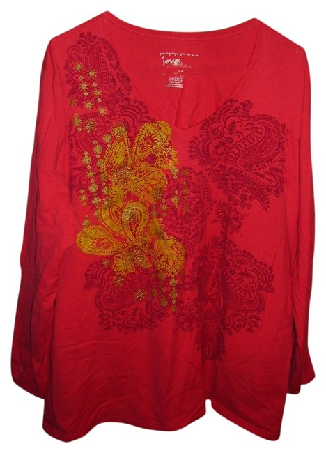 Just My Size T Shirt Hot pink/red/gold