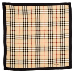 Burberry Beige, black, red multicolor Burberry House check plaid print silk scarf