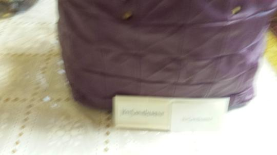 Saint Laurent Adjustable Sides Inner Drawstring Six Pointed Stud Feet Tote in Purple