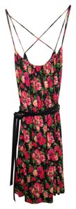 Calvin Klein short dress Pink Black Floral Print Stretchy Comfortable Crisscross Strap Strappy Soft Summer on Tradesy