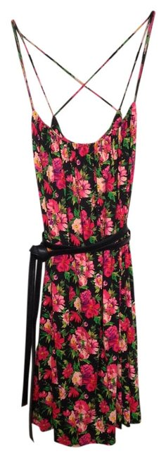 Calvin Klein short dress Pink Black Floral Print Stretchy Comfortable Sundress Crisscross Strap Strappy Soft Spring Summer on Tradesy