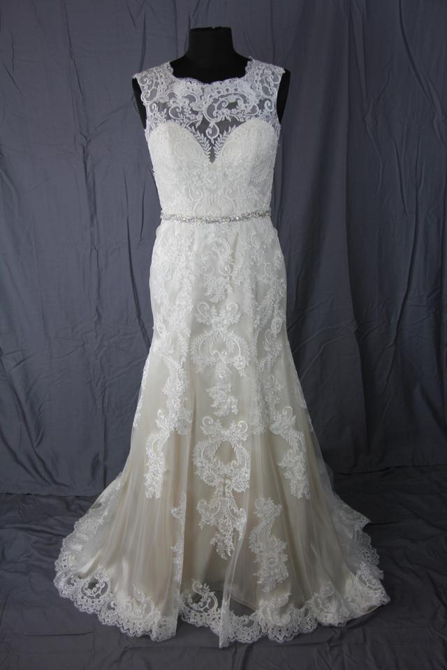 Jacquelin Exclusive Ivory Lace Over Light Gold Embroidered Satin ...