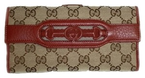 Gucci Gucci Wallets Beige and Red Leather